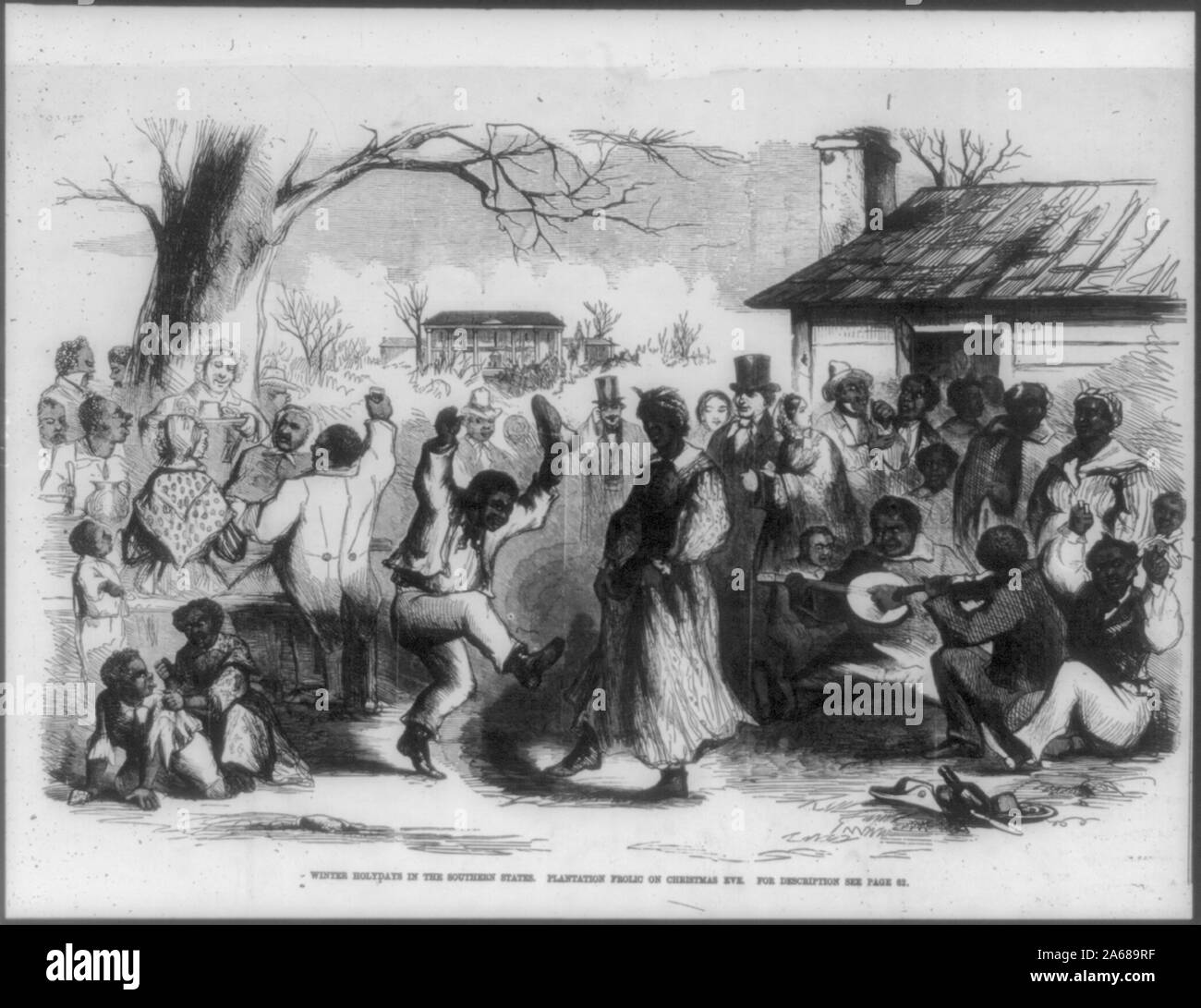 Winter holidays in the southern states. Plantation frolic on Christmas Eve Stock Photo