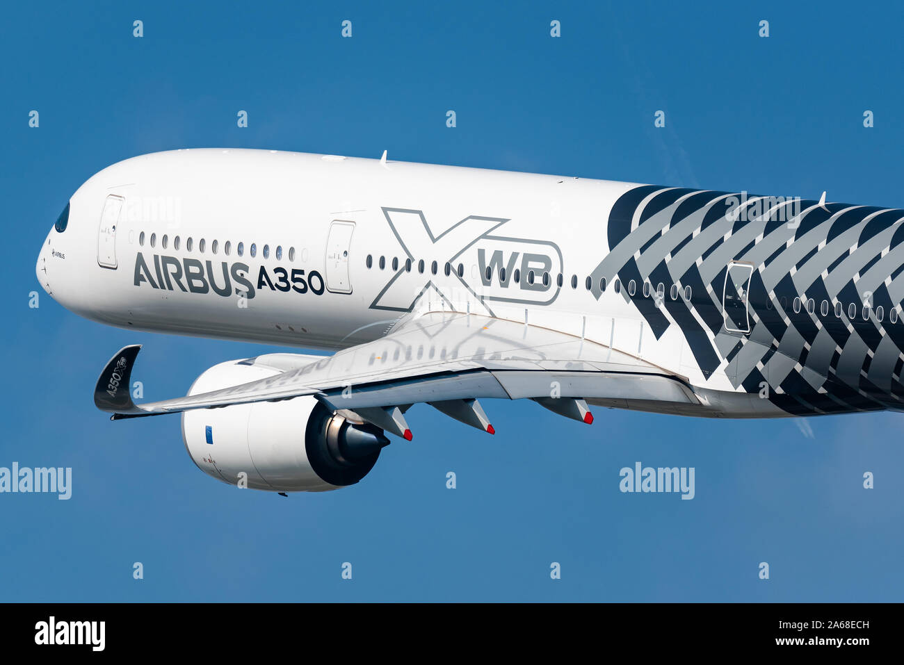 Demonstration flight of the Airbus A350 XWB long-range, twin-engine passenger airplane at the Maks 2019 airshow in Moscow. Stock Photo