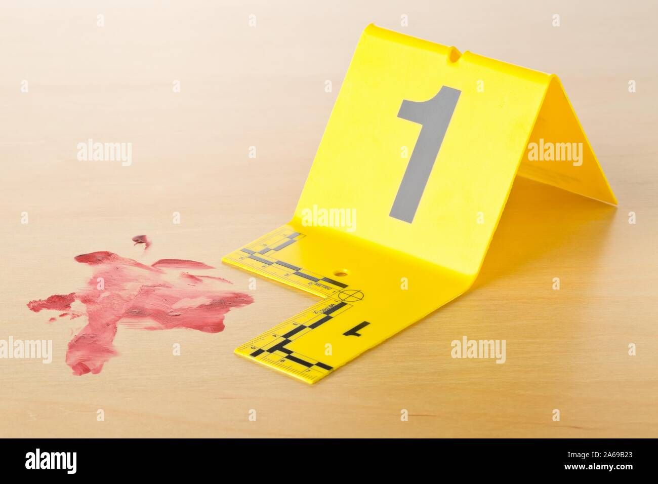 Crime Scene Investigation Csi Evidence Marker With Blood Spot On Wooden Floor Background At Crime Scene Police Evidence Or Forensic Investigation C Stock Photo Alamy