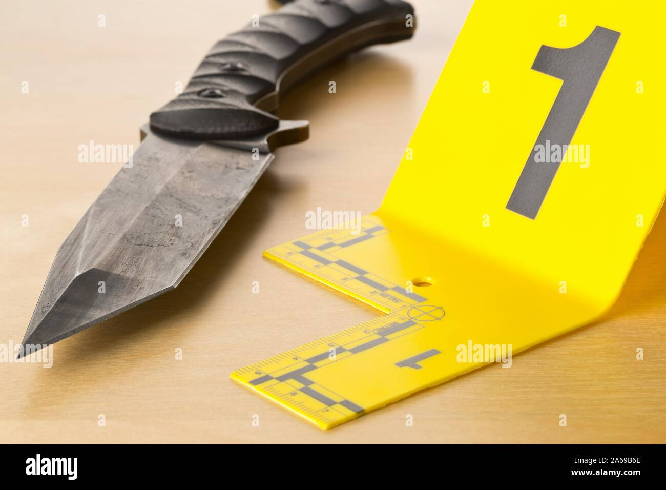 Crime Scene Investigation Csi Evidence Marker With Knife On Wooden Floor Background At Crime Scene Police Evidence Or Forensic Investigation Concep Stock Photo Alamy