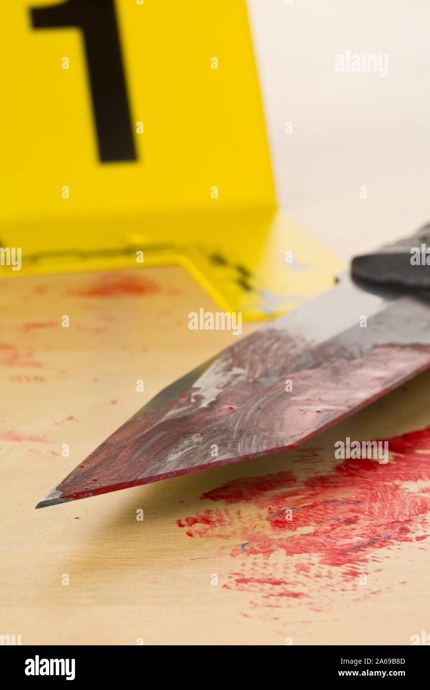 Crime Scene Investigation Csi Evidence Marker With Bloody Knife On Wooden Floor Background At Crime Scene Police Evidence Or Forensic Investigation Stock Photo Alamy