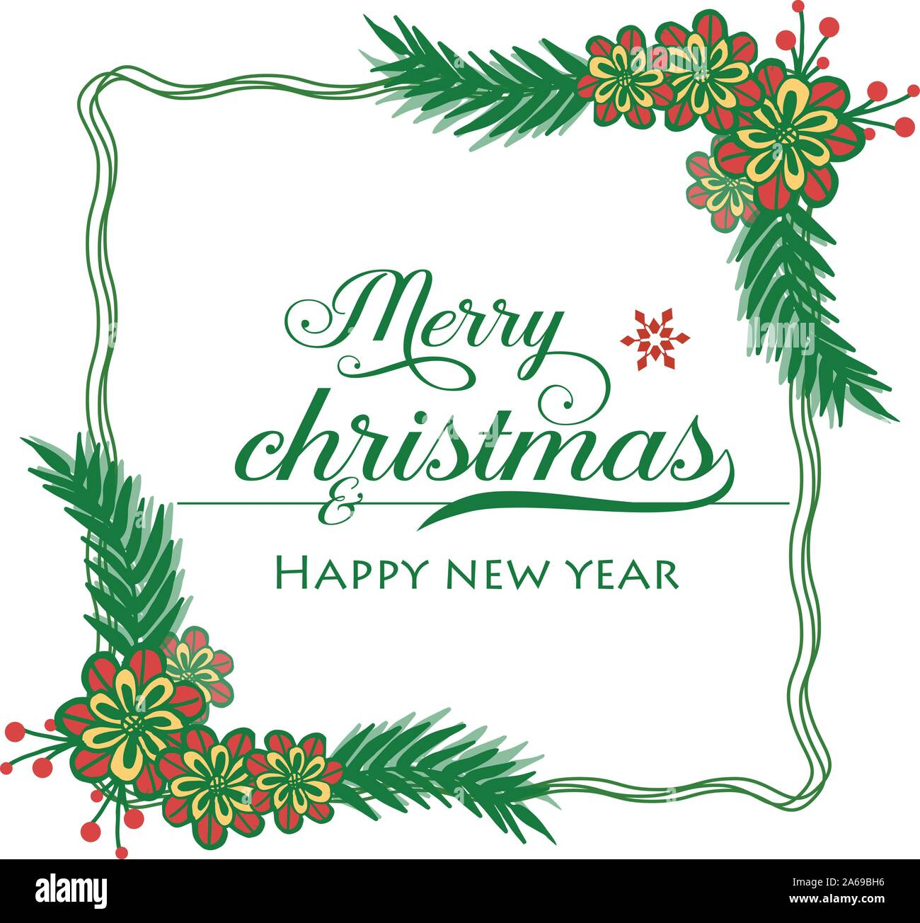 Merry Christmas and Happy New Year Clip Art