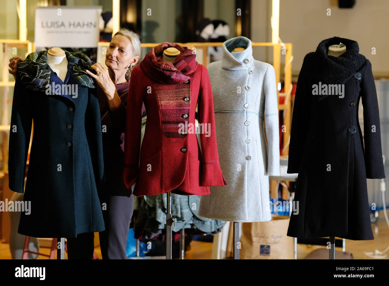 Leipzig Germany 24th Oct 2019 Fashion Designer Luisa Hahn Shows Coats From Her Collection At The