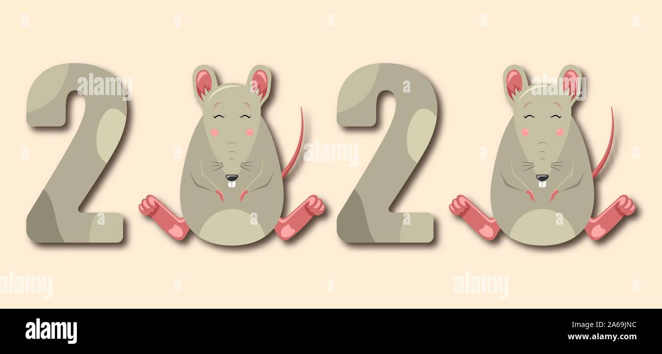 Happy Chinese New Year 2020 Rat Zodiac. Funny Smile Animal - Illustration Vector Stock Vector