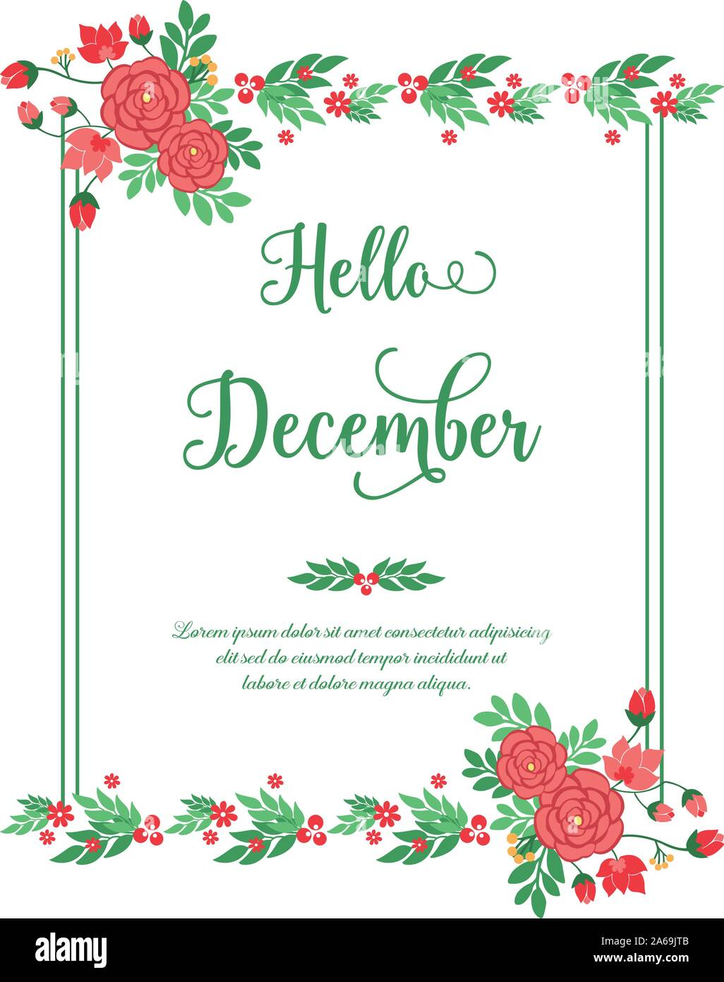 concept of card hello december with