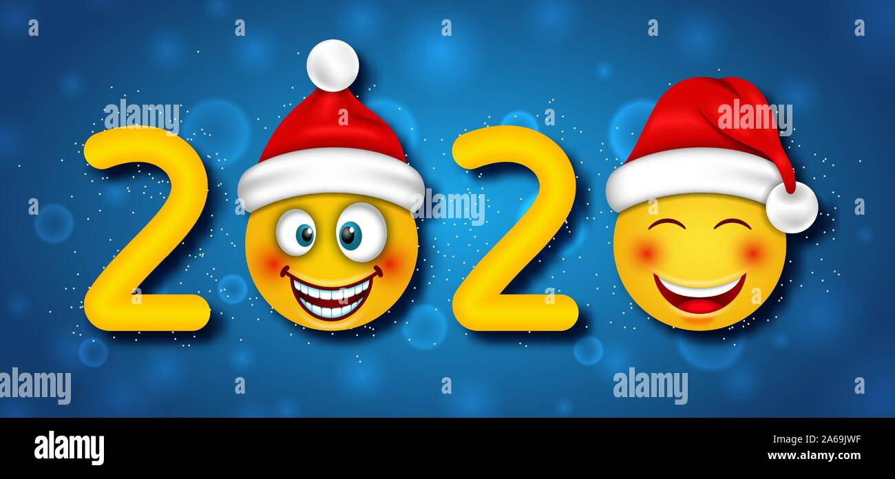 Happy New Year 2020 with Funny Emoticons in Santa Claus Hats - Illustration Vector Stock Vector