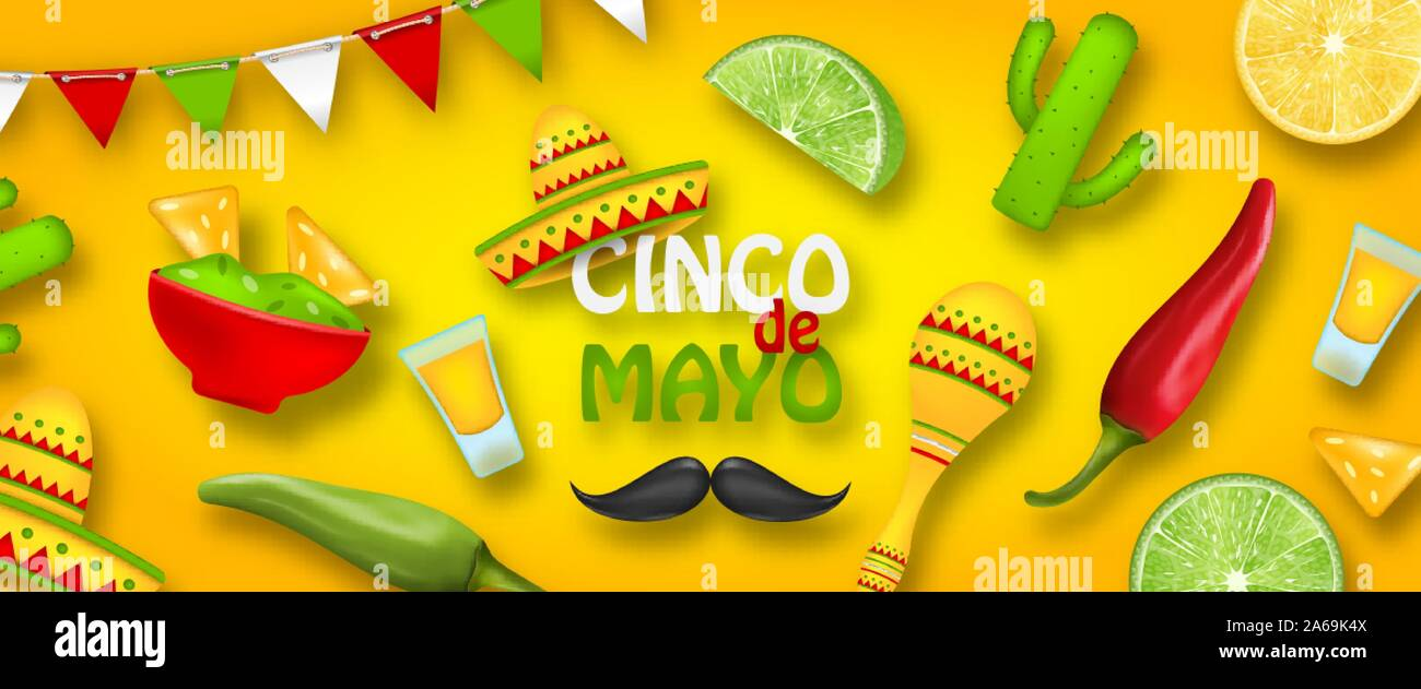 Holiday Celebration Poster for Cinco De Mayo with Chili Pepper, Sombrero Hat, Maracas, Piece of Lime, Cactus - Illustration Vector Stock Vector
