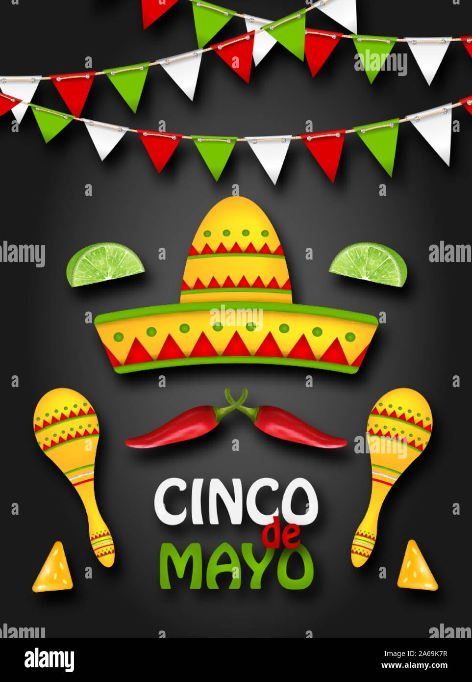 Holiday Background with Collection Mexican Colorful Symbols for Cinco de Mayo - Illustration Vector Stock Vector