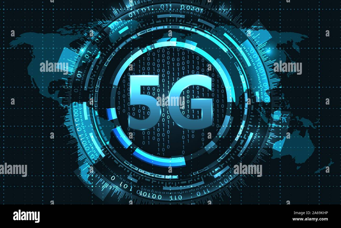 5G New Wireless Internet Wi-fi Connection. Global Network High Speed Innovation - Illustration Vector Stock Vector