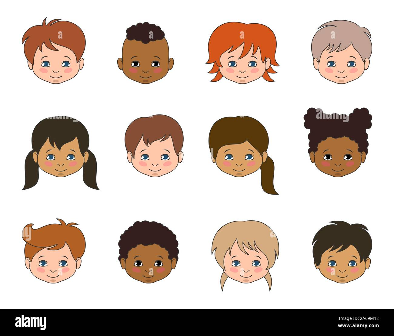 Set Children Faces of Different Races, Multicultural Kids Heads - Illustration Vector Stock Vector