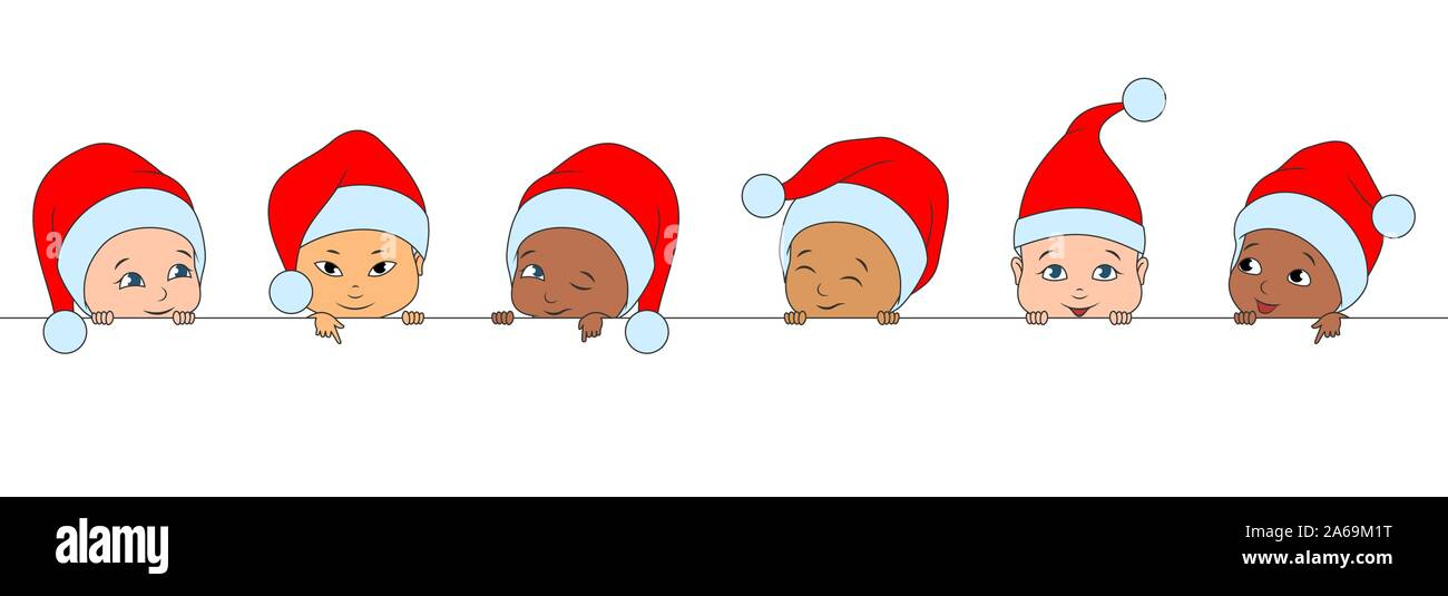 Set Christmas Funny Children of Different Races, Babies in Santa Hats - Illustration Vector Stock Vector