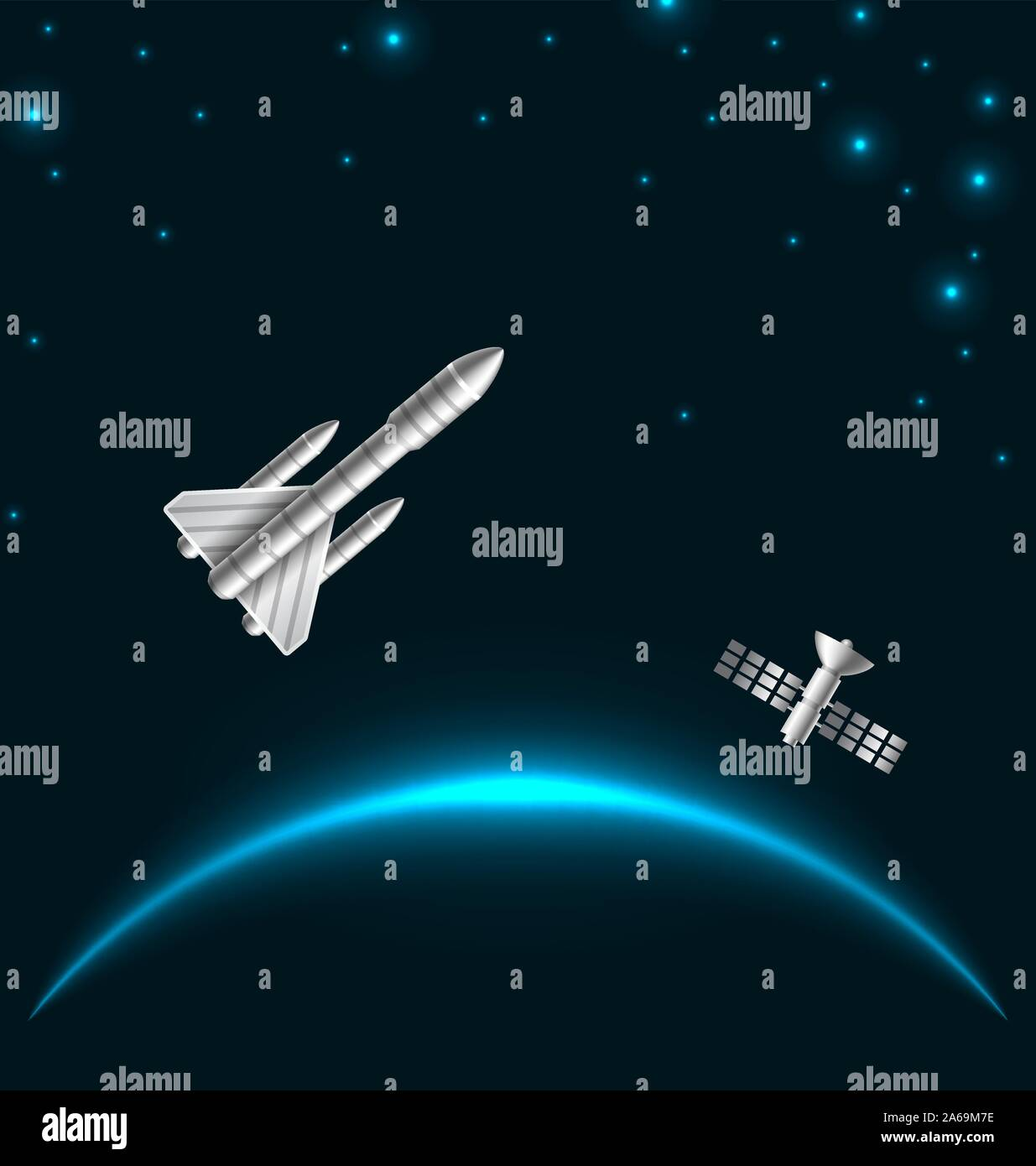 Space Rocket Launch, Cosmos Starry Background with Space Shuttle - Illustration Vector Stock Vector