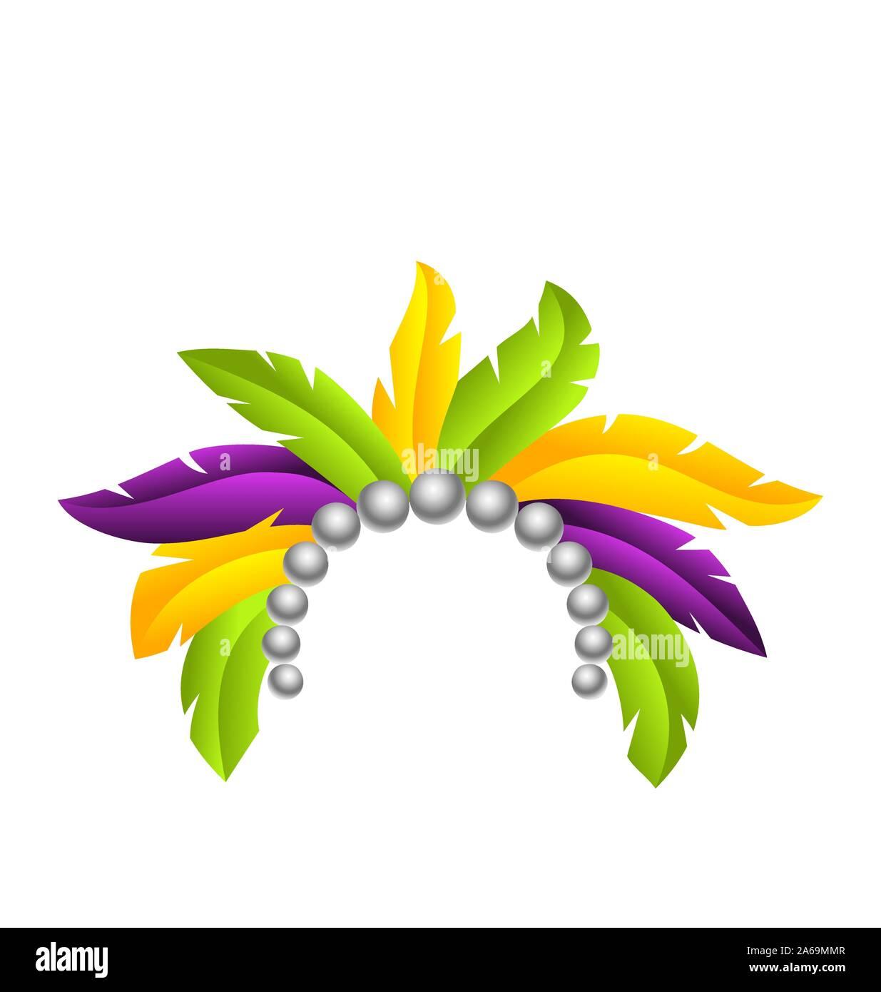 Mardi Gras Feather Headband, Headdress with Pearls, Headpiece Carnaval, Festival Headwear - Illustration Vector Stock Vector
