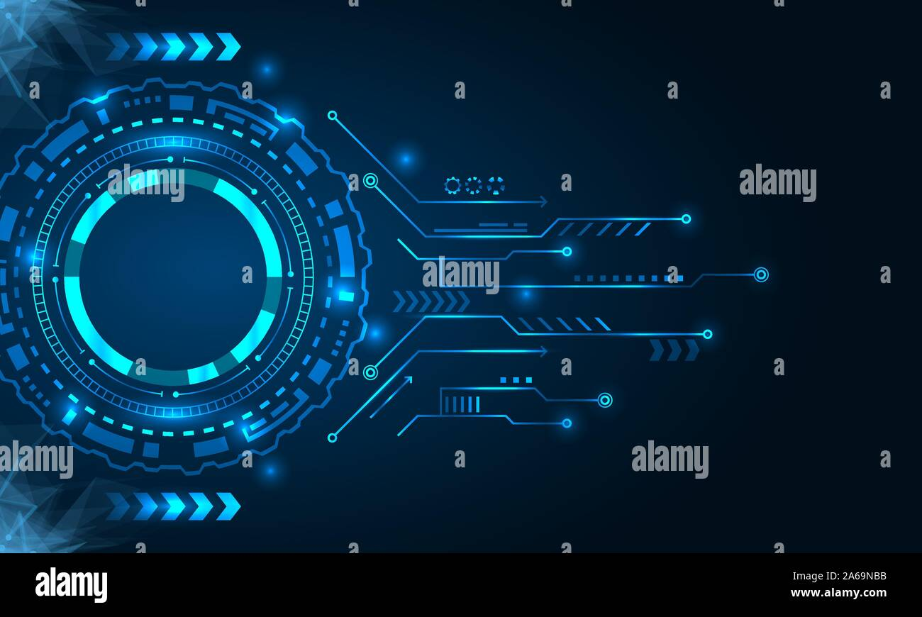 Abstract Futuristic Board with HUD, Technology Background - Illustration Vector Stock Vector