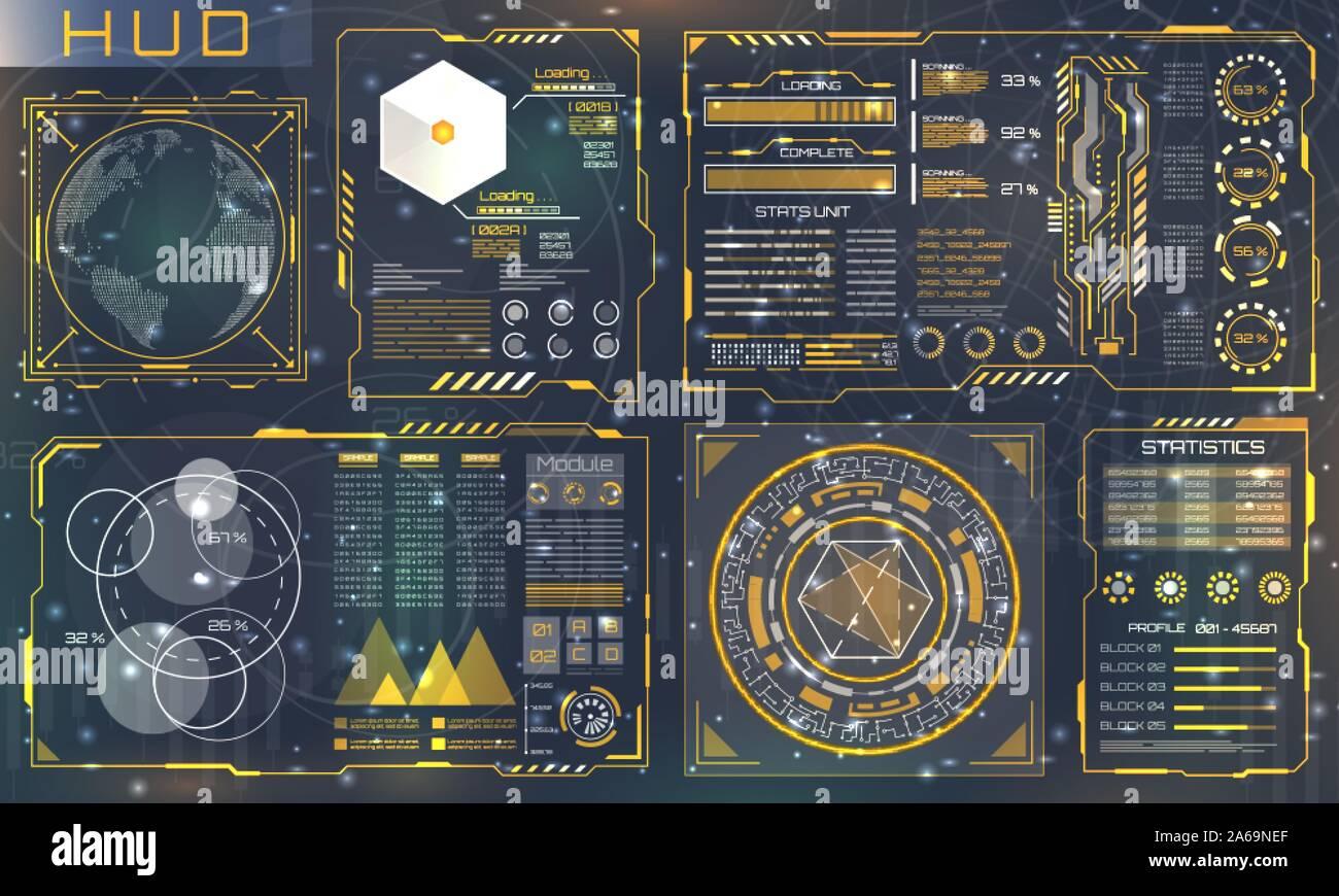 Set HUD Elements for Futuristic Design. Interactive User Interface Control Panels - Illustration Vector Stock Vector