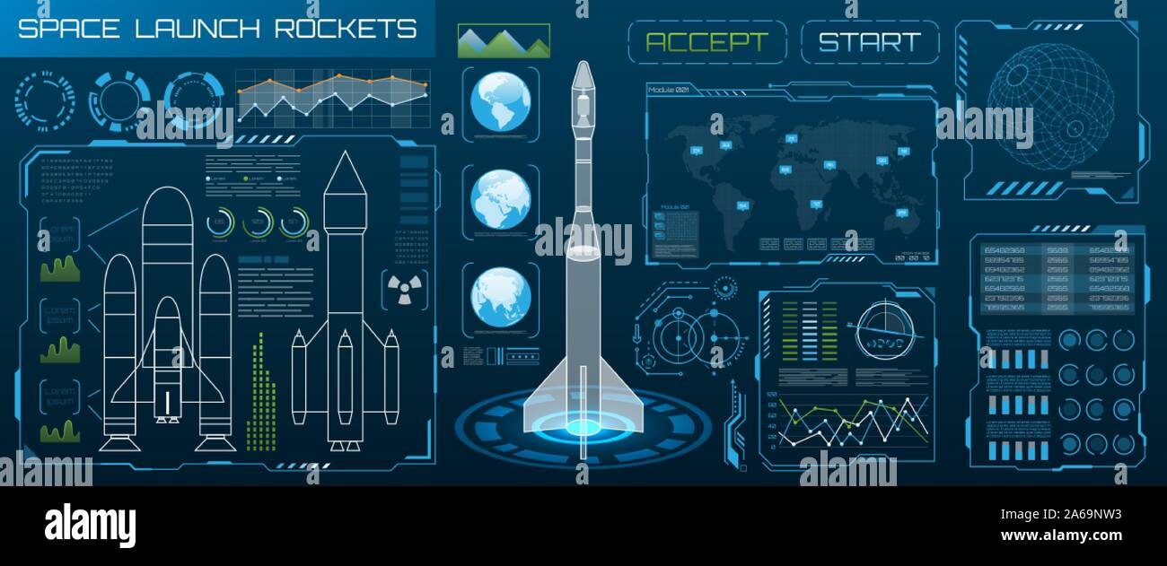 Space Launch Interface Rockets, Sky-fi HUD. Head Up Display - Illustration Vector Stock Vector