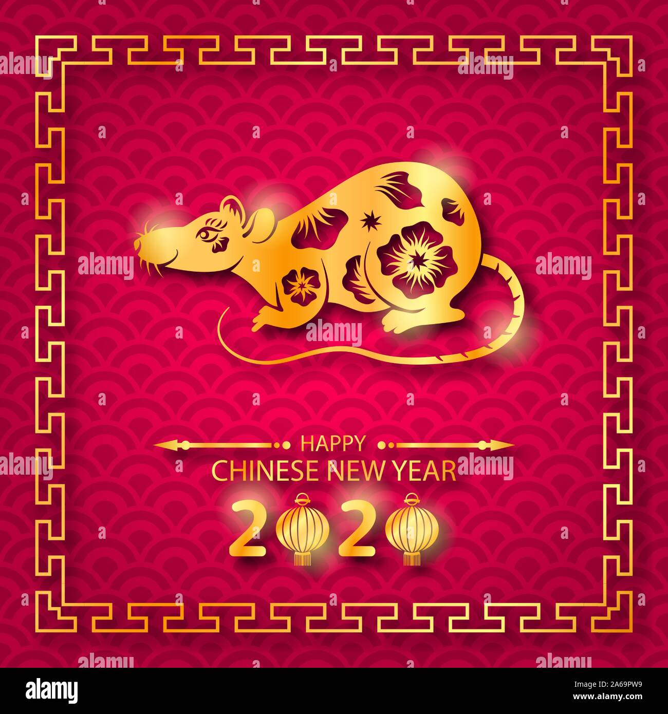 Happy Chinese New Year 2020 Card with Golden Rat Zodiac - Illustration Vector Stock Vector