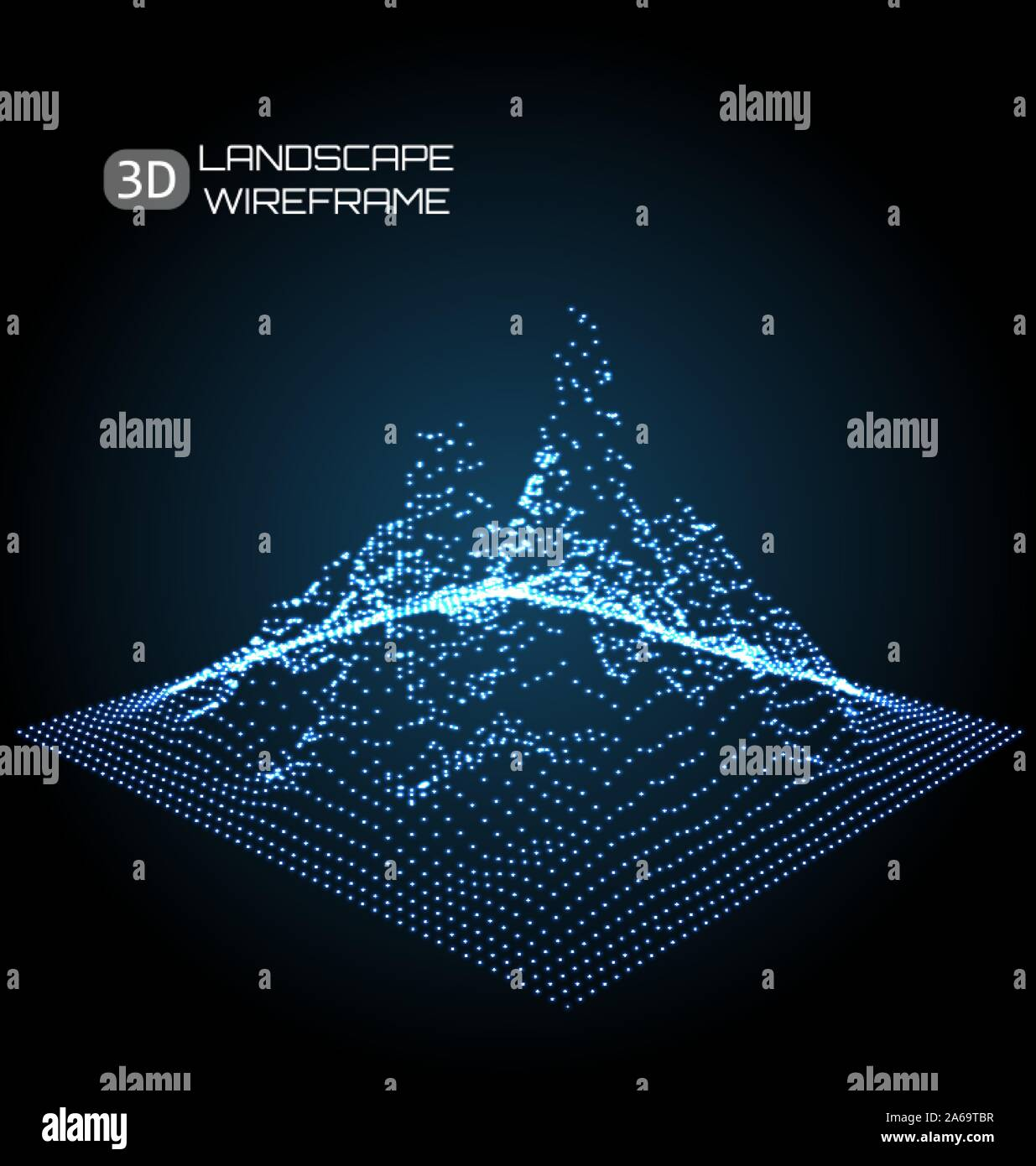 Wireframe Landscape Pattern. Big Data. Geometric Perspective Texture - Illustration Vector Stock Vector