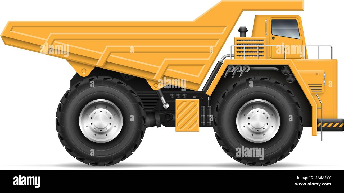 quarry dump truck view from side isolated on white background construction and mining vehicle vector template easy editing and recolor 2A6A2YY
