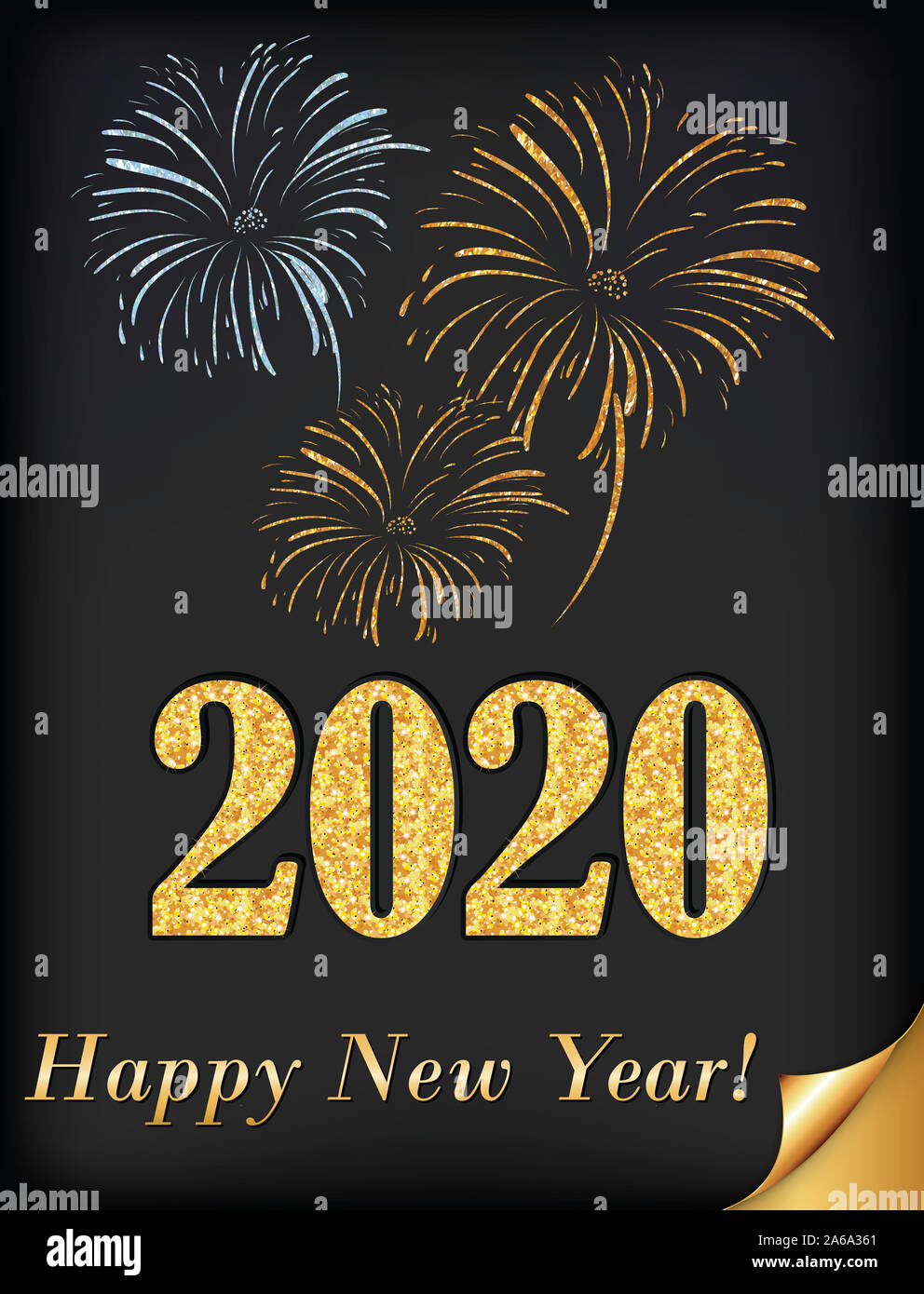Happy New Year 2020 Greeting Card For Print With Classic Design Stylized Fireworks On A Dark Background Stock Photo Alamy