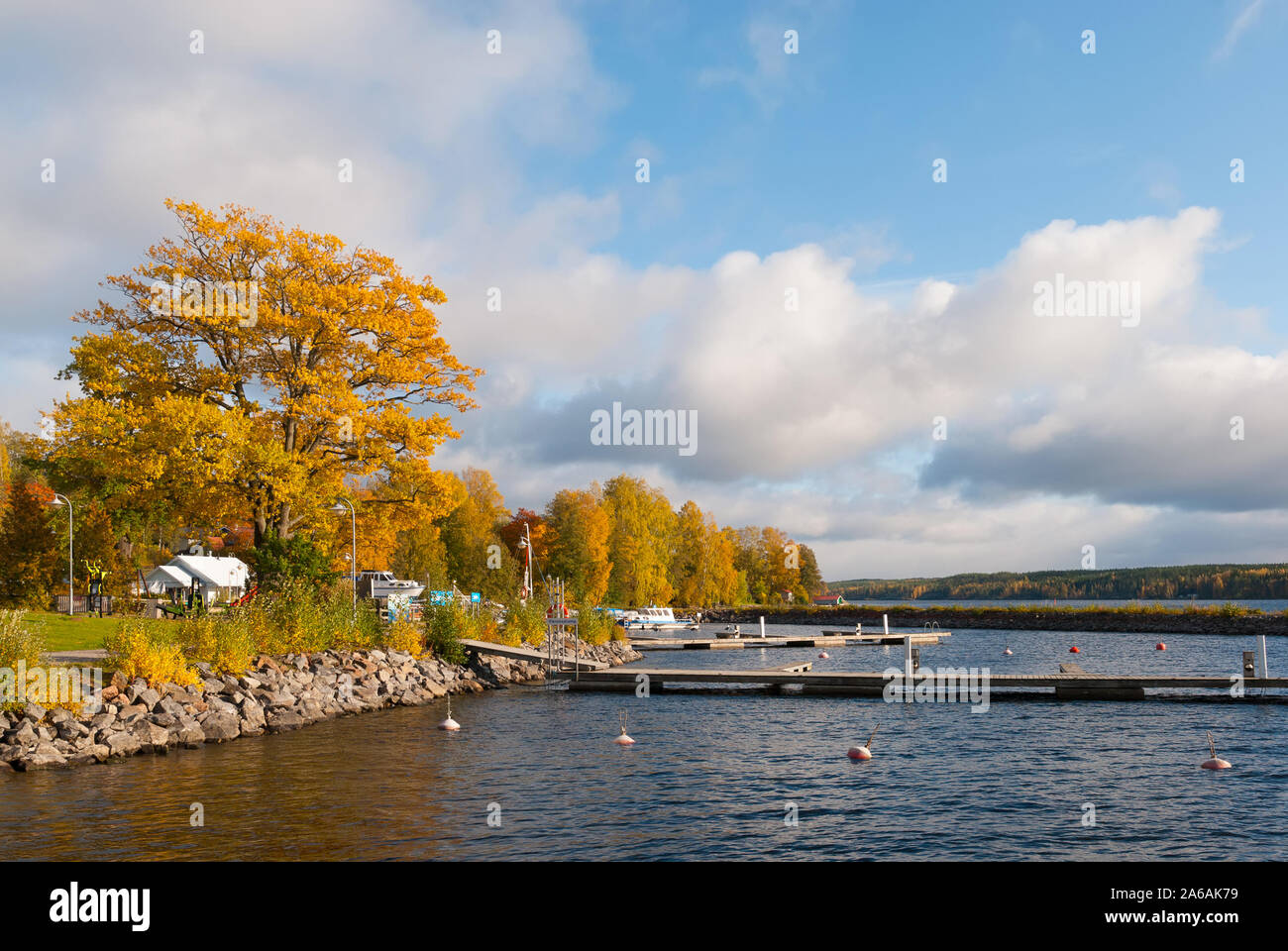 Puumala, Finland–October 5, 2019: Shore of the Saimaa Lake with access to the pier in Puumala Municipality. Southern Savonia (Savo) Region Stock Photo