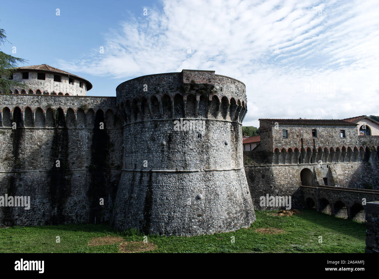 Ancient Firmafede medieval fortress in Sarzana, Italy. Rebuilt by Lorenzo il Magnifico in 1488 Stock Photo