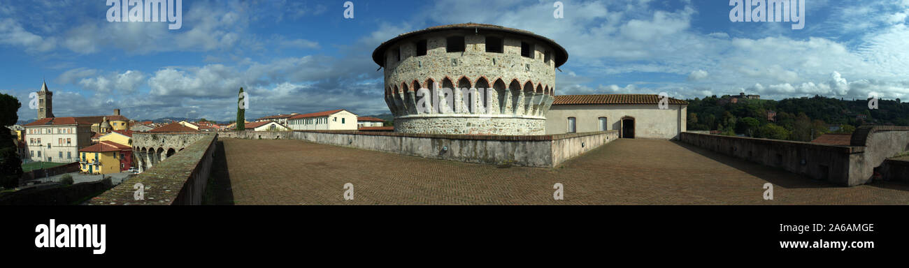 Panorama view of ancient Firmafede medieval fortress in Sarzana, Italy. Rebuilt by Lorenzo il Magnifico in 1488 Stock Photo