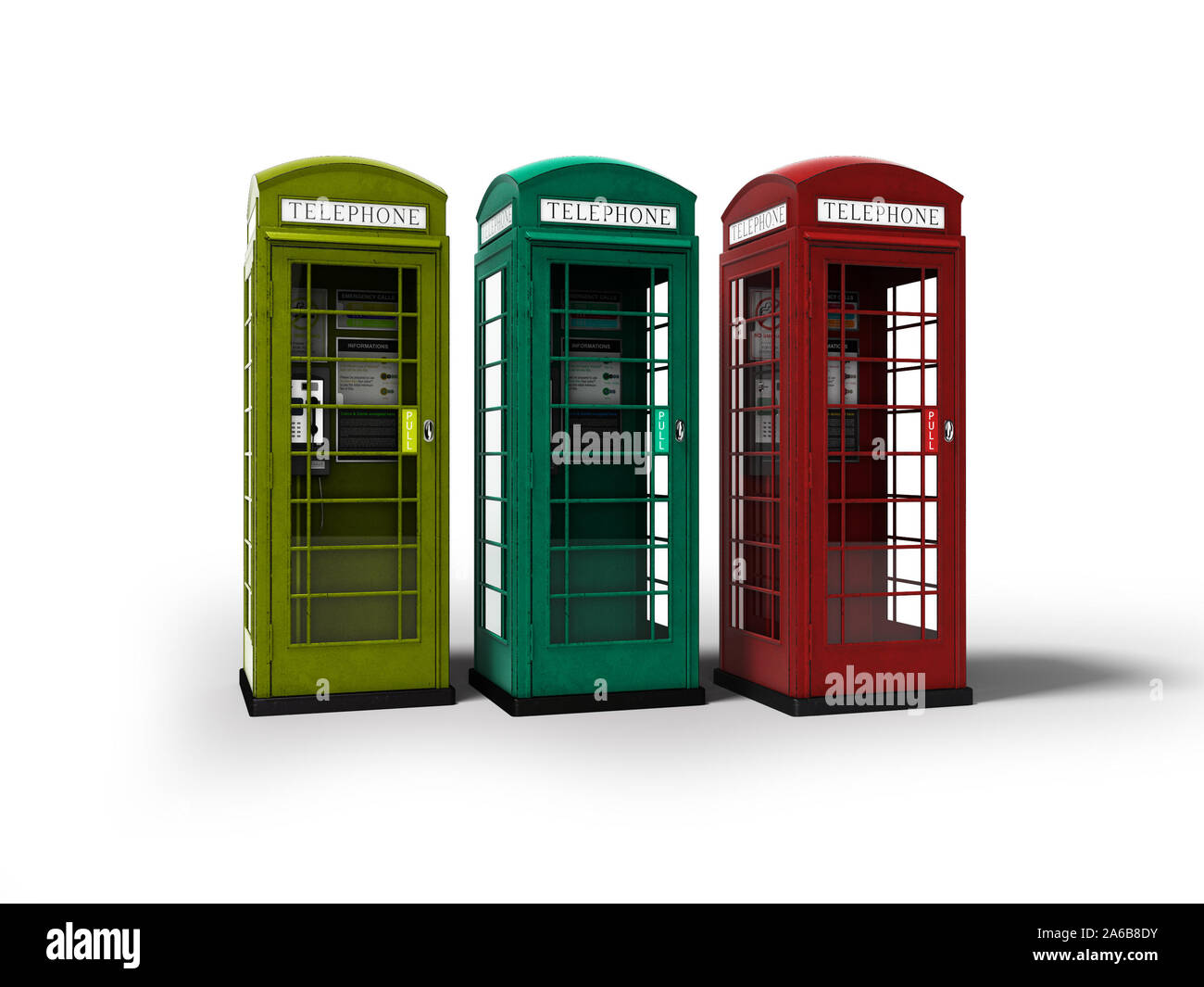Telephone booth red green yellow 3d render on white background with shadow Stock Photo
