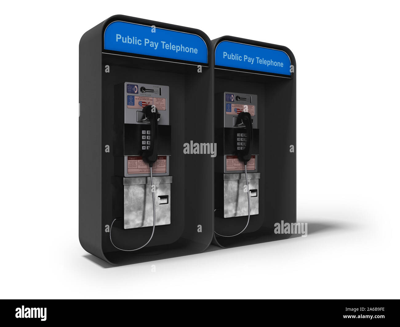Telephone booth double 3d render on white background with shadow Stock Photo
