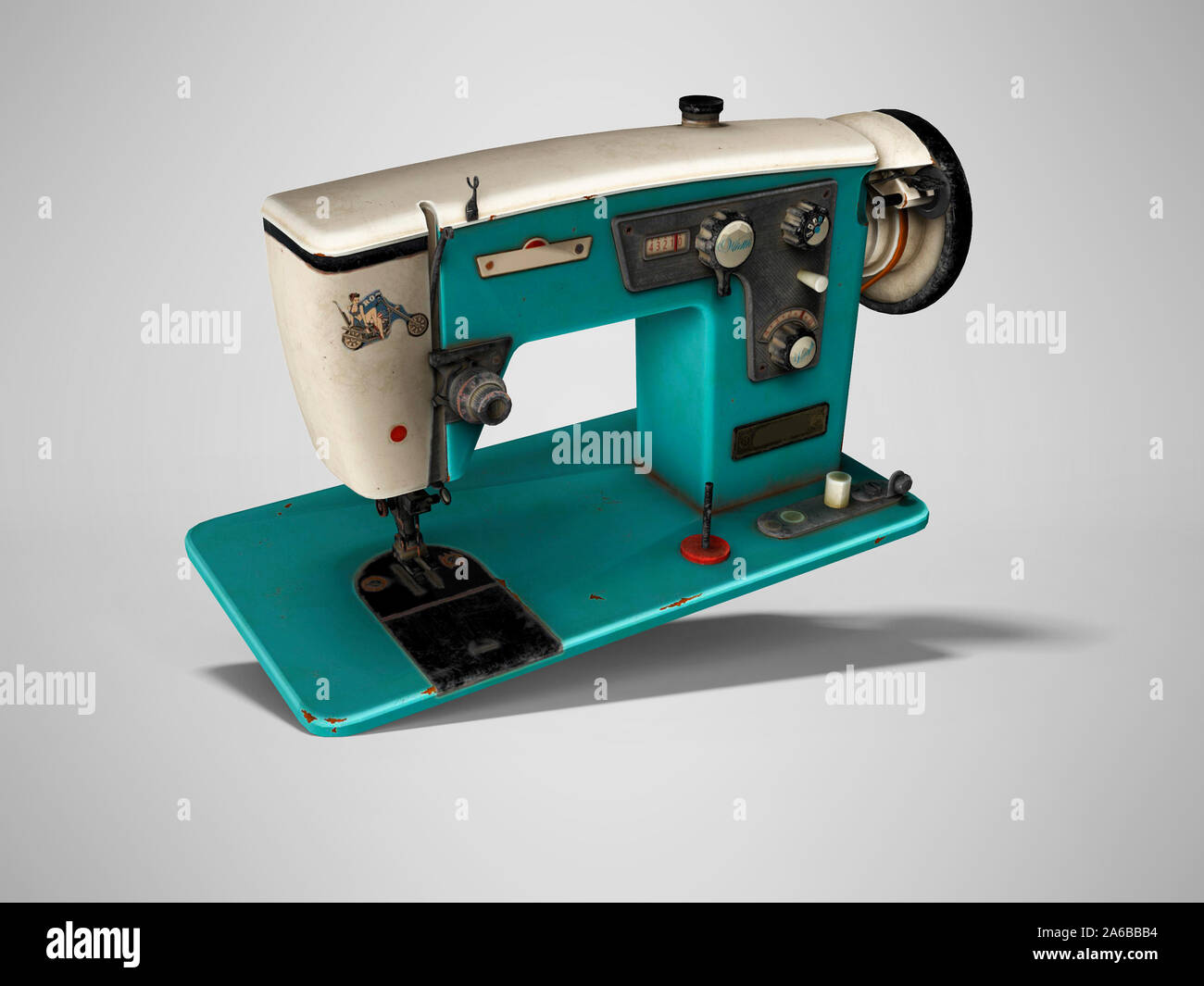Blue old electric sewing machine falls on the floor 3d render on gray background with shadow Stock Photo