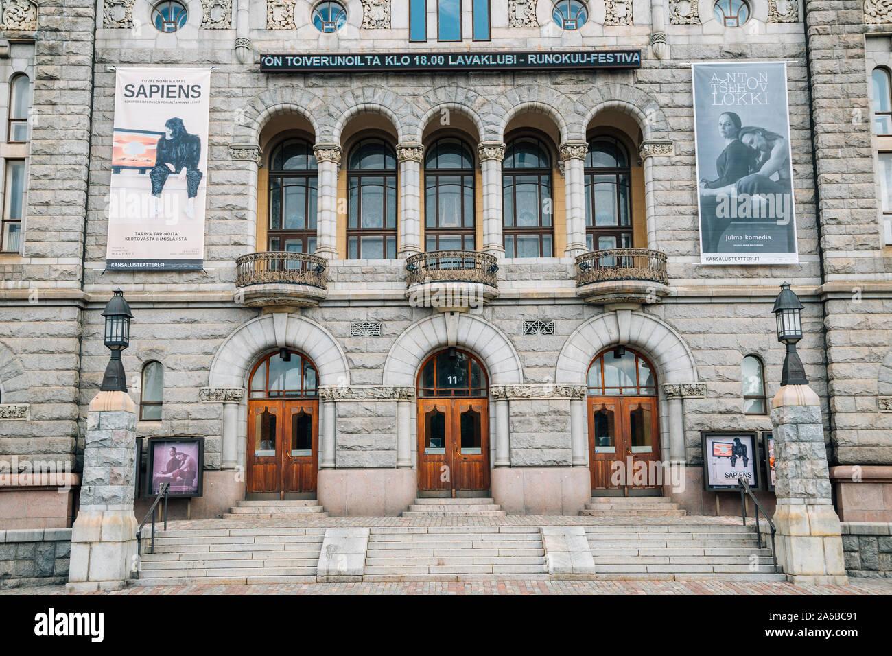 Helsinki, Finland - August 15, 2019 : Finnish National Theatre, Suomen Kansallisteatteri Stock Photo