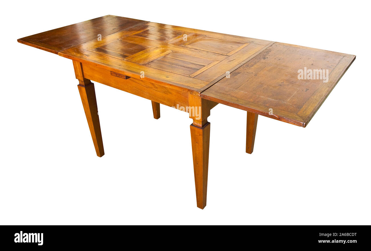 Old extensible italian table just restored in a junk shop Stock Photo