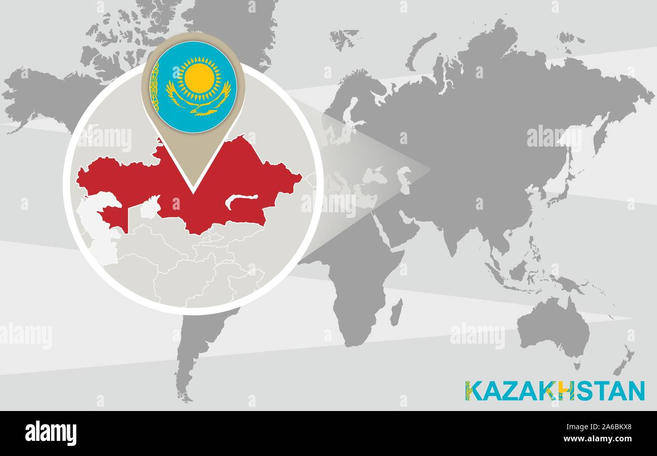 Picture of: World Map With Magnified Kazakhstan Kazakhstan Flag And Map Stock Vector Image Art Alamy
