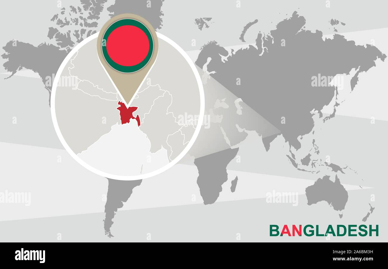 Picture of: World Map With Magnified Bangladesh Bangladesh Flag And Map Stock Vector Image Art Alamy