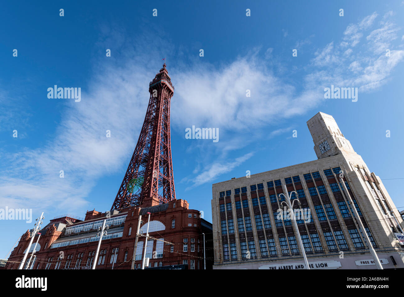 Blackpool Tower ans the old Woolworths building  on a sunny day with blue skies. Stock Photo