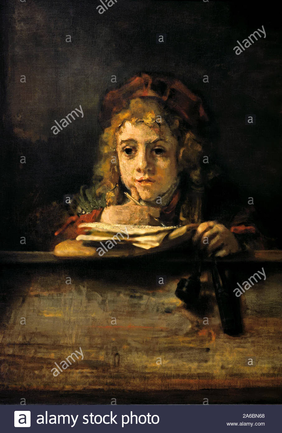 Rembrandt Harmenszoon van Rijn Lion Resting Sketch Vintage Print
