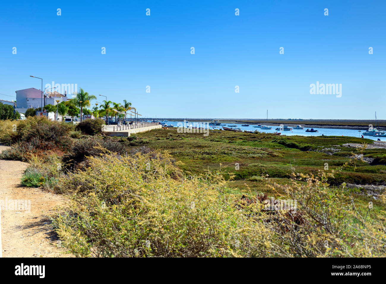 Ria formosa at Santa Luzia, Algarve, Portugal. Stock Photo