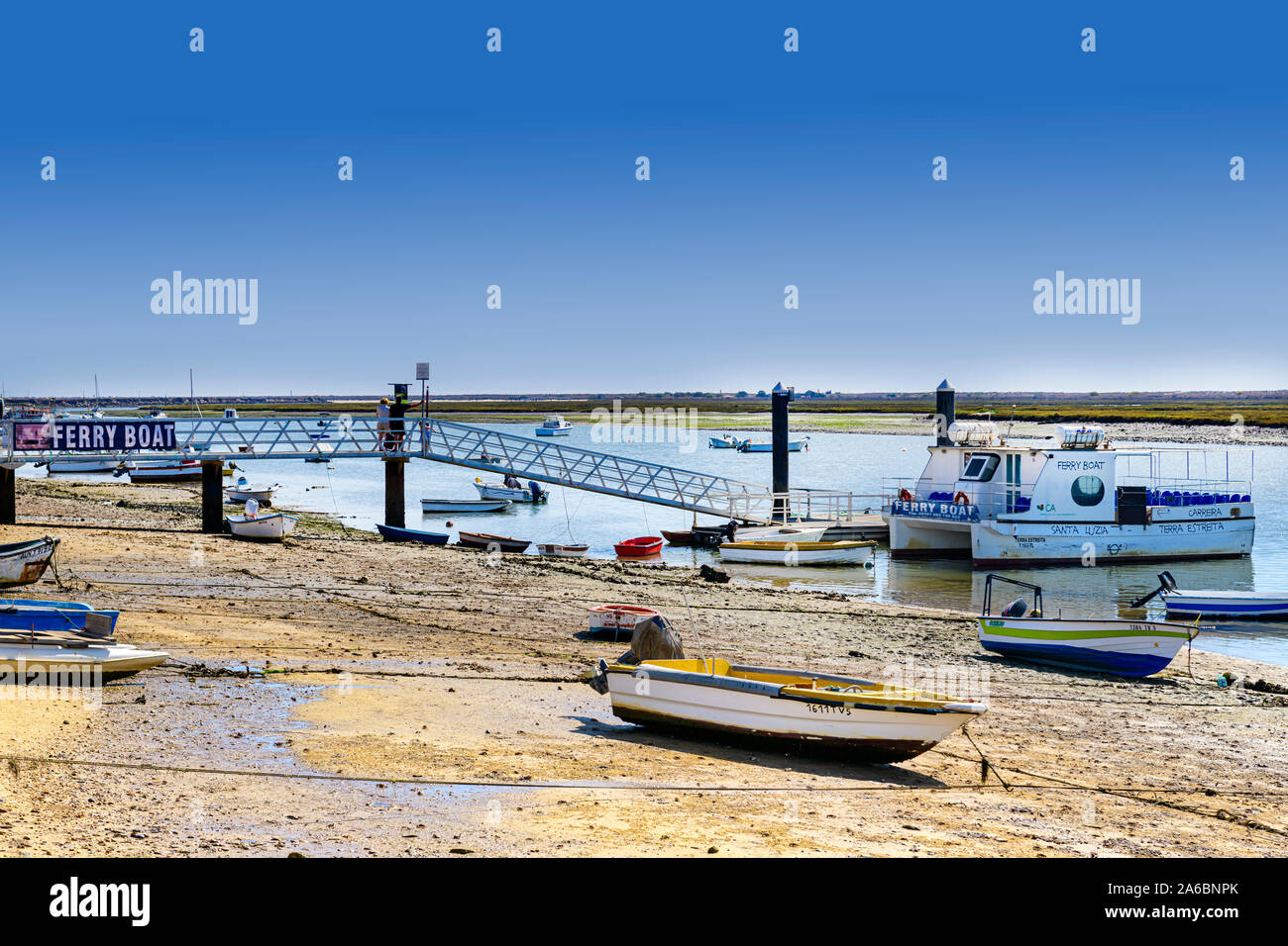 09.16.2019. Algarve, Portugal. The ferry across the Ria Formosa at Santa Luzia Stock Photo