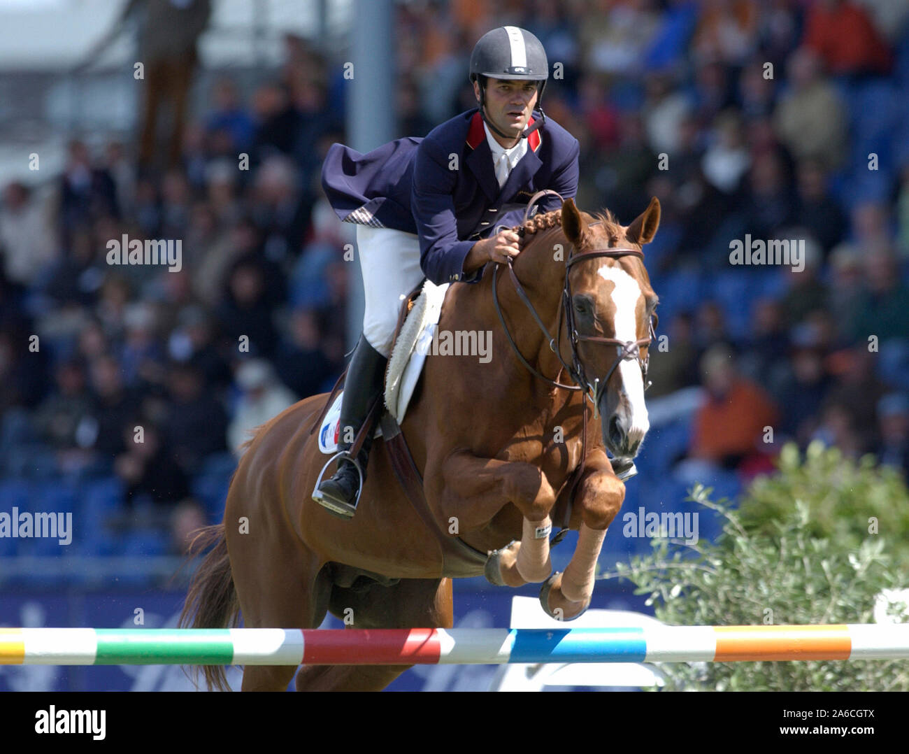 Aachen, Germany 26.8.2005,  World Equestrian Games, CHIO ;  Florian ANGOT / FRA auf First de Lady Launay*hn Stock Photo
