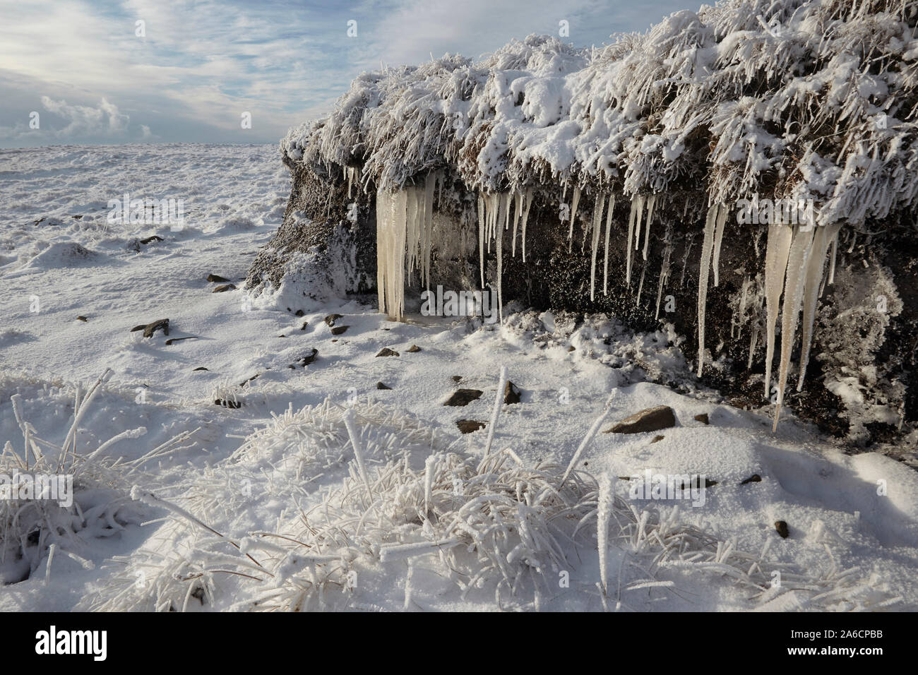 Icicles and hoar frost on Whernside carpeted in snow and ice mid winter Yorkshire Dales Stock Photo