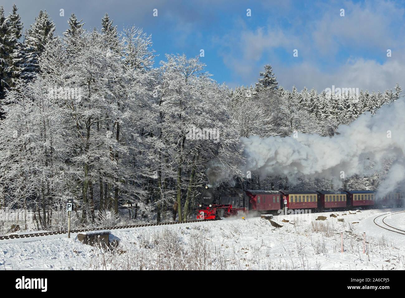 The steam train climbing Brocken Mountain near Drei Annen Hohne in the Harz Mountains, Germany. Stock Photo