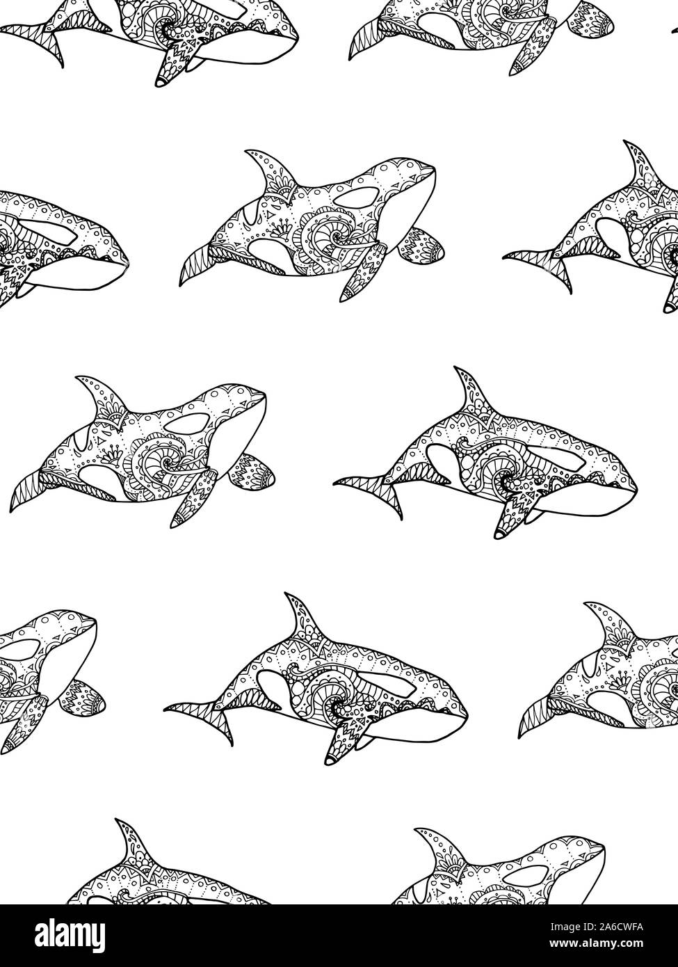 vector illustration of seamless pattern from hand drawing patterned killer whale coloring page book 2A6CWFA