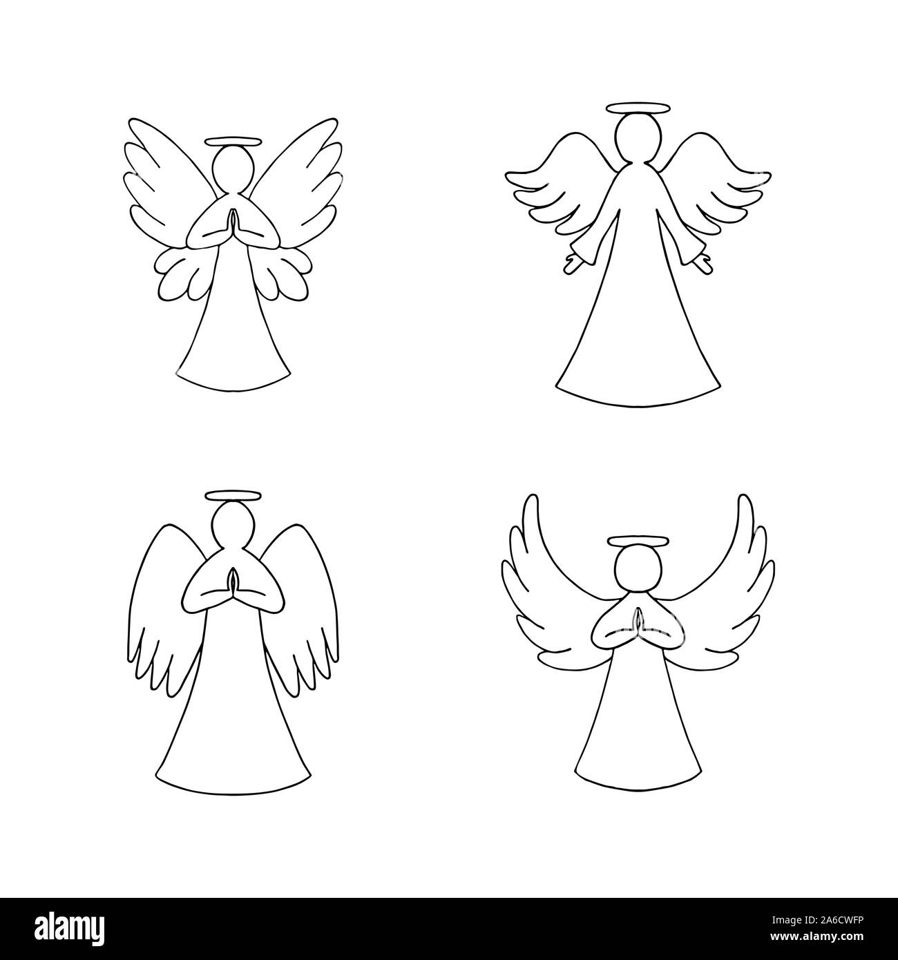 vector set of four angels outline on white background religion decorative elements for new year christmas card 2A6CWFP