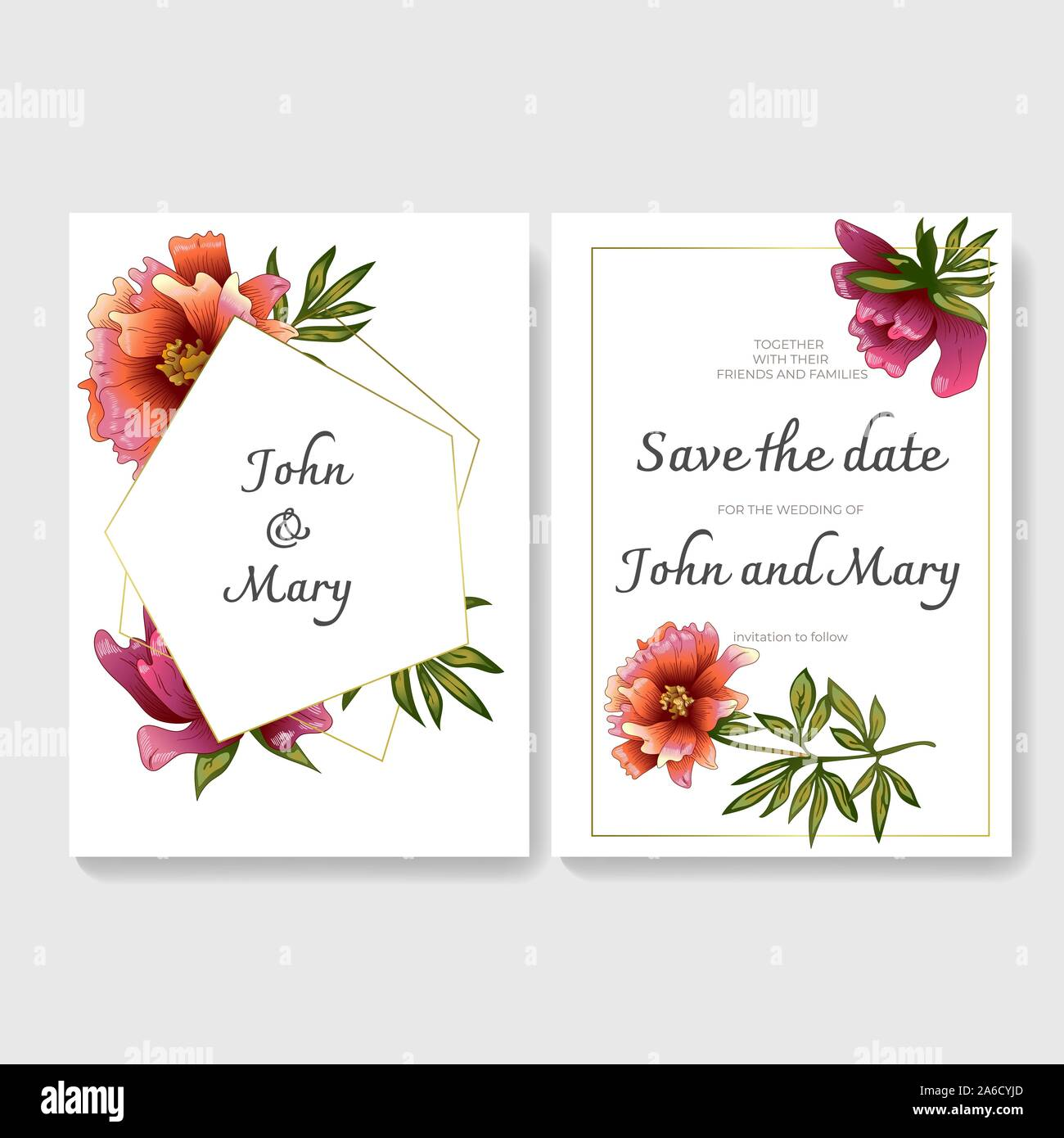 White Card Peony Of The Flower Vector Wedding Background Card Floral Decorative Border Stock Vector Image Art Alamy