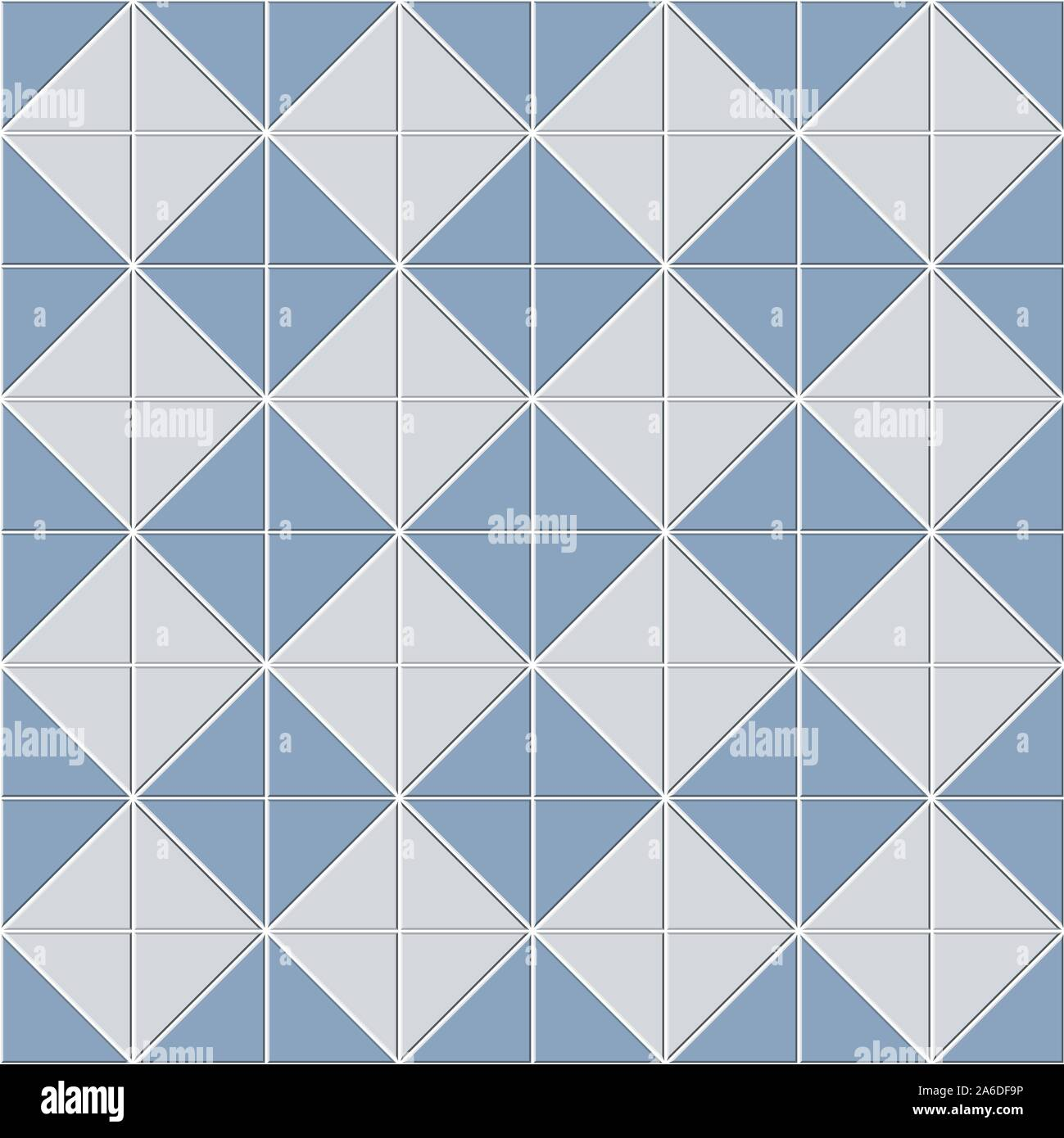 Seamless Pattern Of Blue White Ceramic Tiles Square Shape Block Consisting Of Triangle Design Geometric Texture For Bathroom Vector Illustration Stock Vector Image Art Alamy
