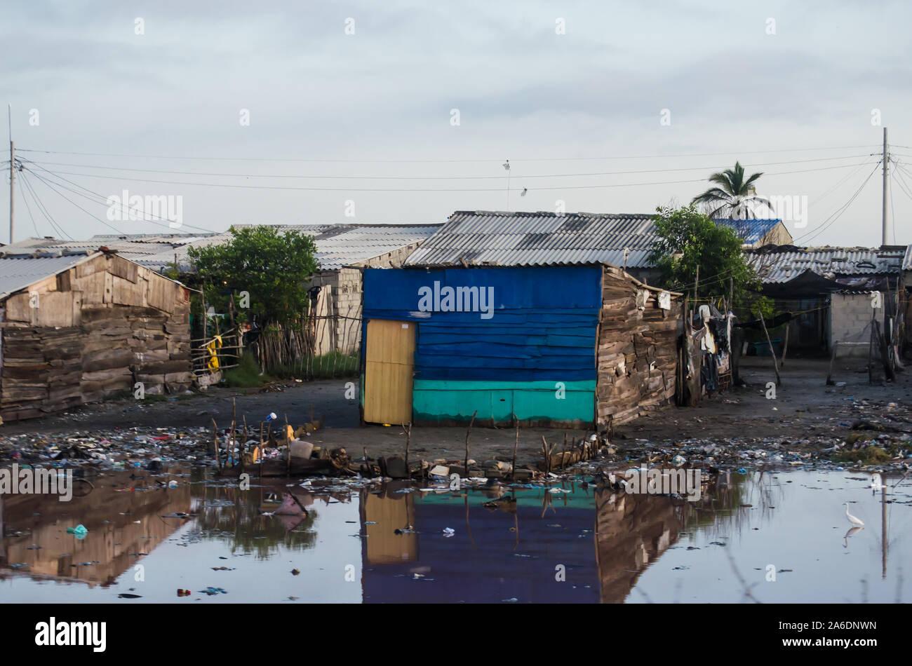 Poor houses in Cienaga Grande de Santa Marta Stock Photo