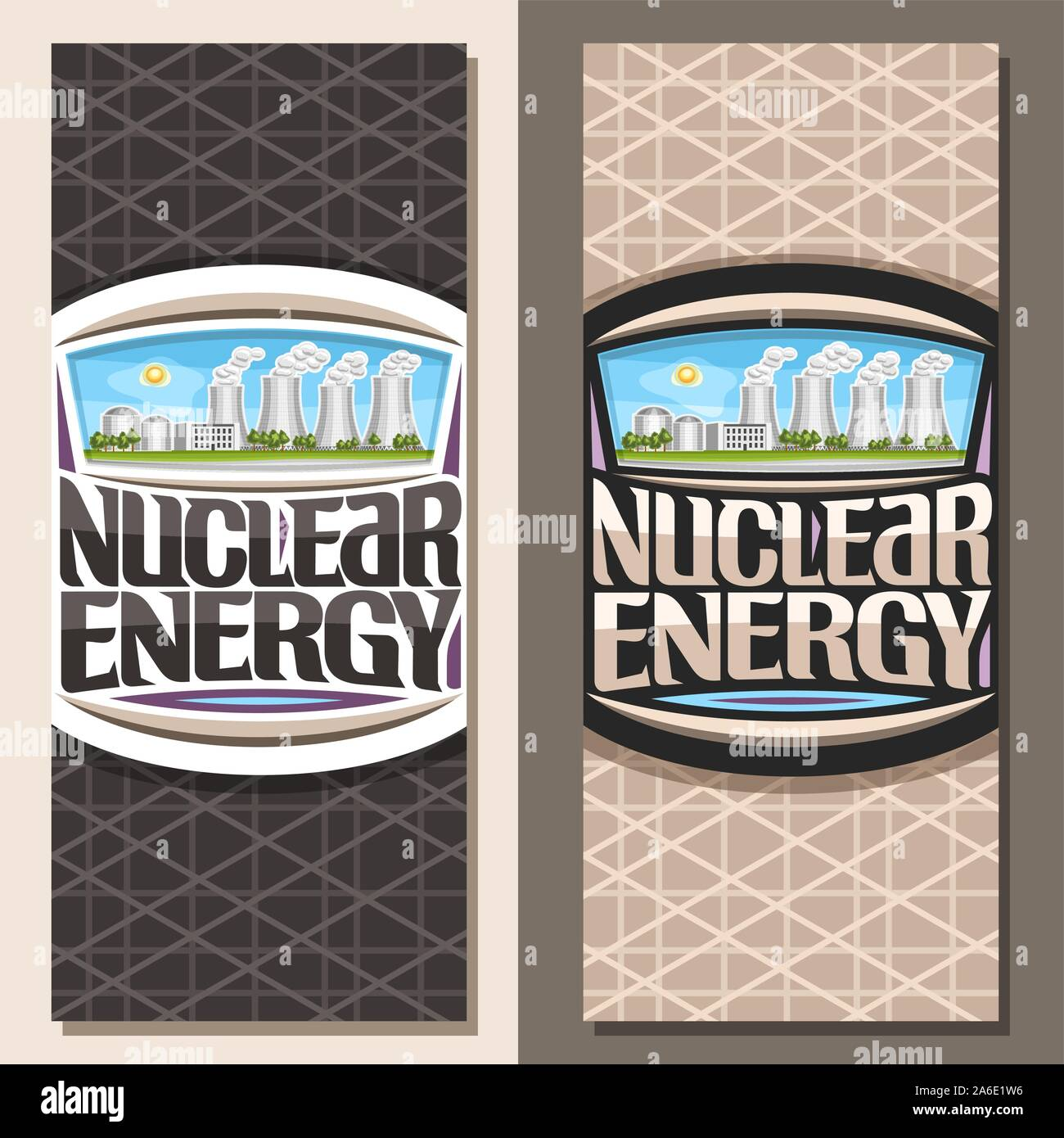 Vector vertical banners for Nuclear Energy, brochure with modern atomic power station, original lettering for words nuclear energy, illustration of at Stock Vector