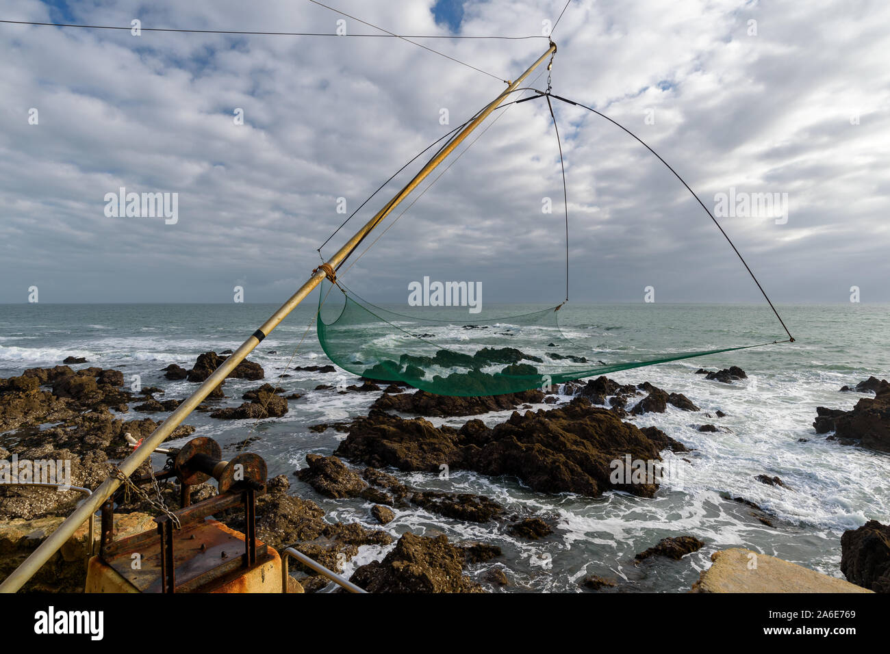 Net fishing gear along the atlantic coast in Le Pouliguen, Loire-Atlantique department, western France. Stock Photo