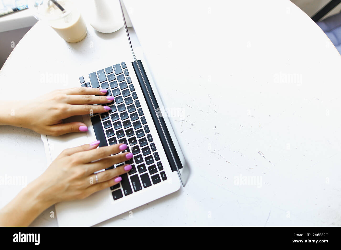 Hands Typing On Laptop Keyboard Banner With White Copyspace Stock Photo Alamy