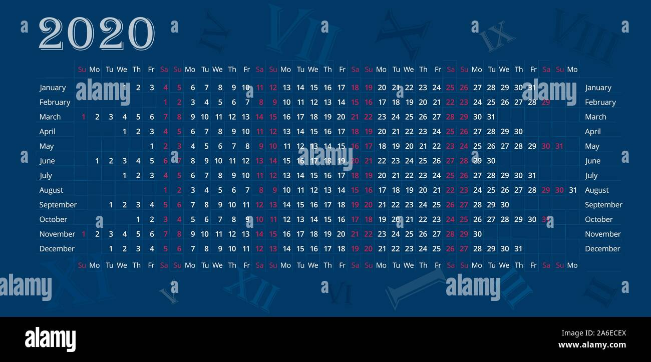 Wall Calendar Of 2020 Year On Deep Blue Background Sundays And Saturdays Are Highlighted In Red Vector Editable Template Horizontal Stock Vector Image Art Alamy